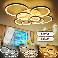 Modern Chandelier LED Acrylic Ceiling Light w/ Remote Control Flush Mount Lamp