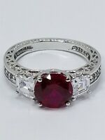 Women's Sterling Silver 925 Filigree Ring with Red & White Stones #80172