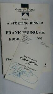 Frank Bruno MBE - Personally Signed Colour Photo & Event Brochure/Dinner Menu