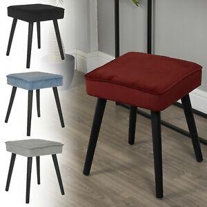 Square Upholstered Velvet Dressing Table Bedroom Vanity Stool Seat Footstool