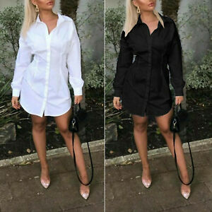 Ladies Womens Long Sleeve Collared Button Up Fashion Longline Shirt Dress New UK