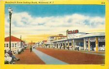 Linen Postcard; Boardwalk Looking South, Wildwood NJ Strand Theatre Cape May Co.