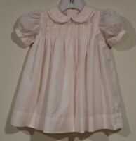 EUC Petit Ami Girls Hand Embroidered Pintucked Pink Dress Size 6 Months