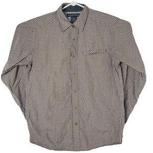 Exofficio Mens Size Medium Gray Button Snap Checkered Long Sleeve Hiking Shirt