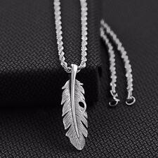 "Twister Western Jewelry Mens Necklace Feather Lobster Claw 24"" Silver 32126"