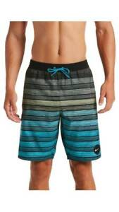 MEN'S SIZE XL BLACK/AQUA NIKE 9 INCH VOLLEY STRIPED SWIM SHORTS NWT