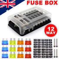 Fuse Box Block Circuit Tester 12 Way 12V Car Auto Marine Blade Holder LED Light