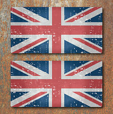 Union Jack Flag Aged Distressed look Laminated Stickers 80x38mm Guitar GB Decals