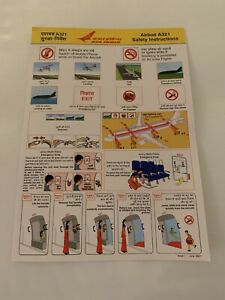 Air India Airlines Airbus A321 Airplane Safety Card
