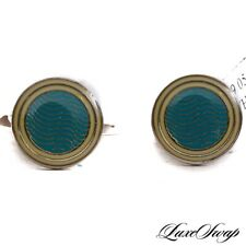 NWT Anonymous Made in Italy Silver Guilloche Turquoise Lemon Rings Cufflinks #7