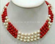 New 3 Rows Real White Pearl Red Coral Natural Gemstone Beads Necklace 17-19''