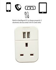 4 Way Gang 2m Switched Surge Protect Extension Lead with 2 USB Ports Portable