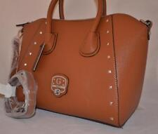 GUESS Garland Studded Satchel Shoulder Bag Purse Tote Set Cognac New