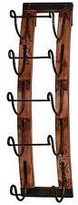 5-Bottle Hanging Wine Rack Wall Decor Holder Wood Rustic Kitchen Display Modern