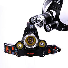 Neu Boruit 3x CREE XM-L T6 LED 5800Lm Stirnlampe Kopflampe Headlamp Headlight