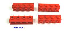 LEGO Nr- 4157223 / 1x4 Bloque de construcción base con tapones rojo / 4 Piezas