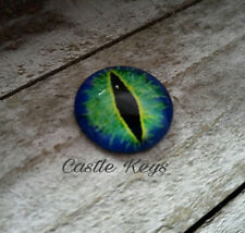 "Eye Cabochon Dragon Eye Cabochon 25mm 1"" Round Glass Cabochon Domed Blue Green"