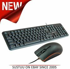 Infapower New X203 Full Size Wired Keyboard & Mouse Combo Set PC/Mac/Laptop 