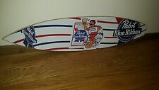 (L@@K) PABST BEER GUY ON SURFBOARD IN WATER BEACH WOODEN SIGN GAME ROOM RARE MIB