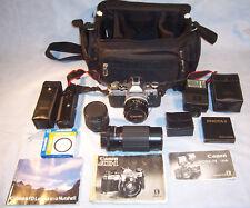 15 Pc Canon AE-1 35mm Film SLR Photo Camera Lenses Filters Winder Flash Case Set