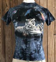 The Mountain Men's Medium Tshirt Vintage 90's White Tiger Space Earth Blue 1999