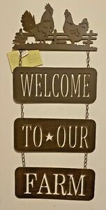 """Welcome Sign Farm Metal Country Rooster Hen Cabin Home 26"""" t x 11"""" Wall Decor"""