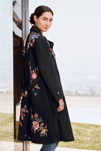 $335 JOHNNY WAS MARGOT BLACK TRENCH COAT FLORAL EMBROIDERY STRETCH TWILL MEDIUM