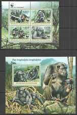 NW0453 2012 CENTRAL AFRICA WWF MONKEYS PRIMATES ANIMALS #3682-3685 KB+BL952 MNH