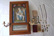 Antique oak Vaticum Catholic Pieta Last Rites Altar Religious Shadow Box
