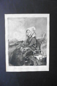 DUTCH SCHOOL 19thC - THE MARKET GIRL - INK DRAWING BY HERMINA MARIUS