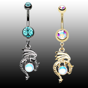 Mother of Dragons Belly Ring Body Jewelry Sexy Golden Black AB Teal Hematite