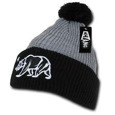 Gray & Black California Republic Bear Star Cuff Pom Winter Beanie Beanies Hat