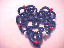 Tatted BLUE Beaded Heart Patriotic Tatting Scrapbooks Crazy Quilts Applique