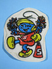 *RARE VINTAGE* CHEERLEADER SMURF PATCH EMBROIDERED PEEL & STICK IRON-ON EMBLEM