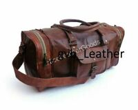 Men's Genuine Leather Travel Duffel Weekend Luggage Vacation Gym Overnight Bag