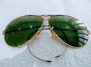 Vintage BL RAY-BAN Aviator SHOOTER golden Frames green lenses sunglasses RB3138