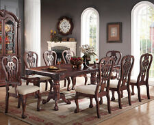 NEW 9PC TRADITIONAL FORMAL GENEVA CARVED CHERRY FINISH WOOD DINING TABLE  SET.  Part 83