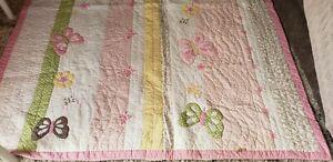 Pottery Barn Kids Twin Quilt Girls Bed Spread Butterfly Pattern Polka Dot