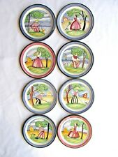 8 NORWAY POTTERY PLATES HAND PAINTED BOY & GIRL COUNTRY SCENES SCANDINAVIAN