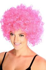 Pink Afro Crazy Disco Funny Funky Wig Fancy Dress Party Curly Colour 70's 80's
