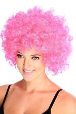 rosa Afro crazy DISCO Divertido Funky Peluca Fiesta De Disfraces Rizado color