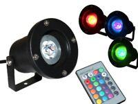 LED Teichstrahler Gartenstrahler wasserdicht IP68 RGB + 16 Farben Fernbedienung