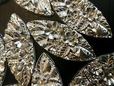 Textured sparkle SILVER sew On Jewel 50mm GEM CRYSTAL RHINESTONE trim Bead