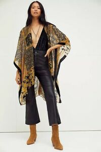 Free People Muse Burn Out Velvet Kimono Top Blue Violet One Size Cover Up NWT