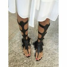 ZARA Black High LEATHER Gladiator Roman Sandal Shoes with Fringes 4 37 BNWT