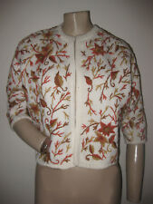Vintage 50s 60s Sibley's Made in Hong Kong Fall Floral Wool Cardigan Sweater S/M
