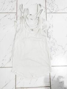 3 PINK Victoria's Secret Sleepwear White Tanks Medium