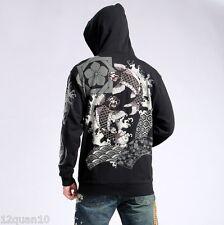 Mens Hoodie Japanese Pattern Embroidery Hooded Sweatshirt Jacket Carp Koi Fish