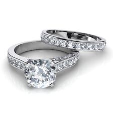 925 Sterling Silver Women Bridal Ring Set 7.4 Mm Near White Round Cut Moissanite