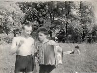 vintage photo Shirtless Handsome MEN TWO Guys Trunk Bulge gay Interest A16